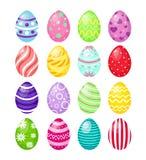 Vectorillustratiereeks van kleurenpaaseieren met patronen, traditioneel kleurrijk en helder symbool van geïsoleerde Pasen stock illustratie