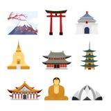 Vectorillustratiereeks van reis Azië met de beroemde binnen gebouwen van Azië, vulkaan en van Boedha standbeeldpictogrammen, reis royalty-vrije illustratie