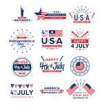 Vectorillustratiereeks vierde van Juli-groetemblemen, de Verenigde Verklaarde groet van de onafhankelijkheidsdag Vierde van Juli royalty-vrije stock afbeeldingen