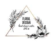 Vectorillustraties - de Winter gouden driehoek met anemonen royalty-vrije illustratie