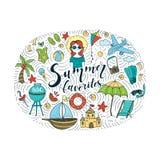 Vectorillustraties met de zomerelementen vector illustratie