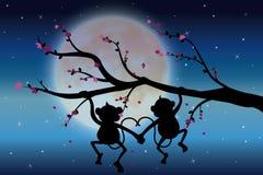 Vectorillustraties, Twee apen op de boom die de maan kijken Stock Afbeelding