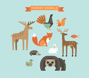Vectorillustraties van bosdieren Stock Afbeeldingen