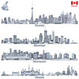 Vectorillustraties van Canadese steden Toronto, de horizonnen van Montreal, van Vancouver en van Ottawa in tinten van blauwe kabe Royalty-vrije Stock Afbeelding