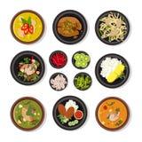 Vectorillustraties van Thais voedsel Het vectorpictogrammenpak isoleert op wit royalty-vrije illustratie