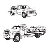 Vectorillustraties van verschillende slepenvrachtwagens royalty-vrije illustratie
