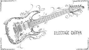 Vectorillustratietekening van elektrische gitaar royalty-vrije illustratie