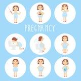 Vectorillustratietekens van zwangerschapssymptomen stock illustratie