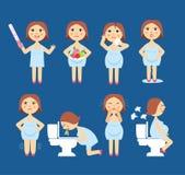Vectorillustratietekens van zwangerschapssymptomen - toxemie van zwangerschap, het zwellen, emotionele instabiliteit, maagproblem vector illustratie