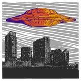 Vectorillustratieufo met Licht die over Stad bij Nacht vliegen vector illustratie