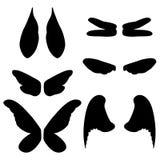Vectorillustratievleugels van verschillende dieren en insecten Stock Afbeelding