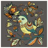 Vectorillustratievogel met bloemen stock foto's