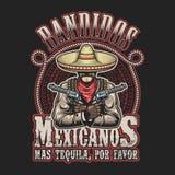 Vectorillustrtion van het Mexicaanse malplaatje van de bandietendruk stock illustratie