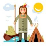 Vectorindiër met spear De vlakke illustratie van het stijl kleurrijke Beeldverhaal Stock Afbeeldingen