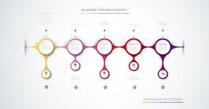 Vectorinfographic-etiketontwerp met pictogrammen en 7 opties of stap stock illustratie