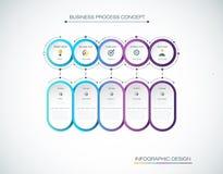 Vectorinfographic-etiketontwerp met pictogrammen en 5 opties of stappen Infographics voor bedrijfsconcept stock illustratie