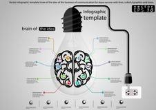Vectorinfographic-malplaatjehersenen van het idee van de zaken van mededeling voor Aqua-succes met lijnen, kleurrijke grafiek en Stock Foto