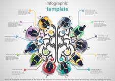 Vectorinfographic-malplaatjehersenen van het idee van de zaken van mededeling voor Aqua-succes met lijnen, kleurrijke grafiek en Stock Afbeelding
