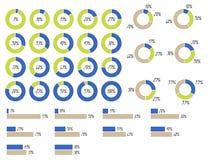 vectorinfographics: cirkeldiagrammen 5%, 10%, 15%, 20%, 25%, 30%, 35%, 40%, 45%, 50%, 55%, 60%, 65%, 70%, 75%, 80%, 85%, 90%, 95% Royalty-vrije Stock Foto