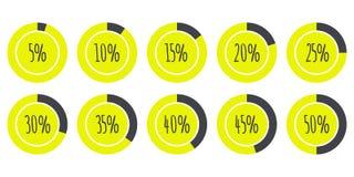 Vectorinfographics 5% die 10% 15% 20% 25% 30% 35% 40% 45% 50% Cirkeldiagrammen op wit worden geïsoleerd Stock Fotografie