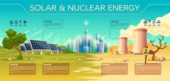 Vectorinfographics van de zonne, kernenergieindustrie vector illustratie