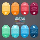 Vectorinfographicsetiketten en stickers Malplaatje voor diagram, grafiek, presentatie, grafiek Bedrijfsconcept met 8 stock illustratie
