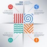 Vectorinfographicsontwerp Vier elementen vatten illustratie samen Stock Foto