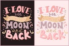 Vectorinschrijvingen I houden van u aan de maan en terug in roze en purpere kleuren Illustratie op de donkere en lichte achtergro royalty-vrije illustratie