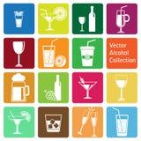 Vectorinzameling: alcoholpictogrammen Royalty-vrije Stock Foto