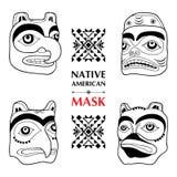Vectorinzameling met Inheems Amerikaans ritueel die masker op witte achtergrond wordt geïsoleerd Tlingit etnisch heilig masker Royalty-vrije Stock Fotografie
