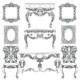 Vectorinzameling van Barok stijlmeubilair Stock Foto's