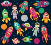 Vectorinzameling van Beeldverhaal Rocketships, Alients, Robots, Astronauten en Planeten vector illustratie
