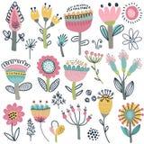Vectorinzameling van buitensporige bloemen Skandinavische motieven vector illustratie