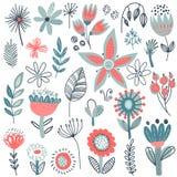 Vectorinzameling van buitensporige bloemen Skandinavische motieven royalty-vrije illustratie