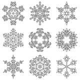 Vectorinzameling van de artistieke ijzige abstracte vlokken van de kristalsneeuw stock illustratie