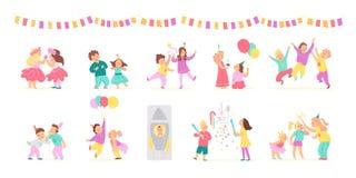 Vectorinzameling van de gelukkige jonge geitjes en van de verjaardagspartij met ballons, pinata die geïsoleerd op witte achtergro stock illustratie