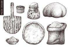 Vectorinzameling van de ingrediënten van het pizzadeeg De bakkerij of de pizzeria overhandigt getrokken elementen Uitstekende voe vector illustratie