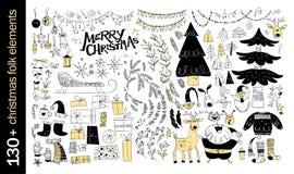 Vectorinzameling van de inheemse elementen van het Kerstmisontwerp die op witte achtergrond worden geïsoleerd stock illustratie