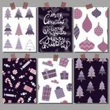 Vectorinzameling van de malplaatjes van de Kerstmisaffiche Vastgestelde Groetkaarten Heldere kleuren stock afbeeldingen