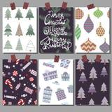 Vectorinzameling van de malplaatjes van de Kerstmisaffiche Vastgestelde Groetkaarten Heldere kleuren stock afbeelding