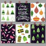 Vectorinzameling van de malplaatjes van de Kerstmisaffiche Vastgestelde Groetkaarten Heldere kleuren stock foto