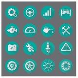 Vectorinzameling van de moderne, eenvoudige, vlakke en in Autodienst Stock Afbeelding