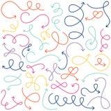 Vectorinzameling van de Pijlen van Doodled Squiggly