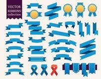 Vectorinzameling van decoratieve ontwerpelementen - de linten, kaders, stickers, etiketteert stock illustratie