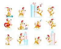 Vectorinzameling van grappige die hond emoticons in santahoed op witte achtergrond wordt geïsoleerd vector illustratie
