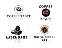 Vectorinzameling van hand getrokken die het ontwerpelementen van het koffieembleem op geweven achtergrond worden geïsoleerd stock illustratie