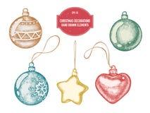 Vectorinzameling van hand getrokken Kerstmisdecoratie royalty-vrije stock afbeeldingen