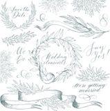 Vectorinzameling van hand getrokken ontwerpelementen en voorwerpen Uitstekende bloemenelementen De stijl van het huwelijk Stock Foto's