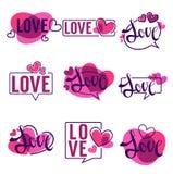 Vectorinzameling van harten en liefdeembleem, emblemen, etiketten Stock Afbeeldingen