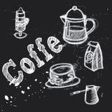 Vectorinzameling van het krijt van de koffiekrabbels van de bordstijl het van letters voorzien Stock Afbeelding